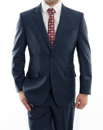 Men's Heather Blue Wool Modern Fit Suit 2 Button Pick Stitching MW246-04