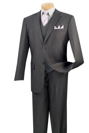 Mens Heather Charcoal 3 Piece Suit 2 Button Jacket Vinci  V2TR - click to enlarge
