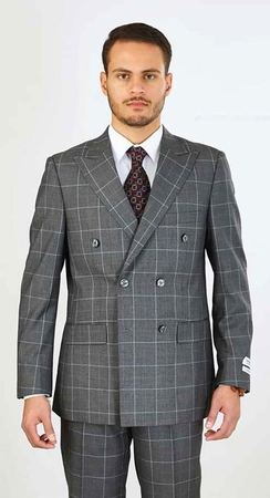 Lorenzo Mens Gray Plaid Double Breasted Suit M662WD - click to enlarge