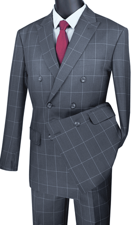 Double Breasted Suit Modern Fit Gray Windowpane Vinci MDW-1