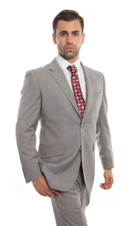 Men's Heather Gray Wool Italian Style Suit Flat Front Pants Stitch MW246-05