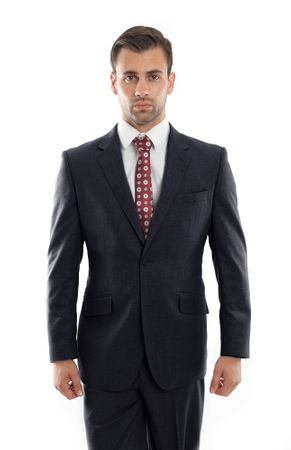 Men's Heather Navy Wool Modern Suit Two Button Plain Front Pants ZeGarie MW246-03 - click to enlarge