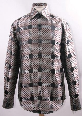 Mens High Collar Shirt Brown Fancy Square Pattern FSS1421 - click to enlarge
