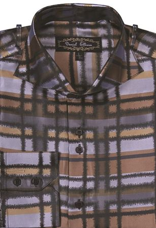Mens High Collar Shirt DE Beige Fancy Plaid  FSS1305