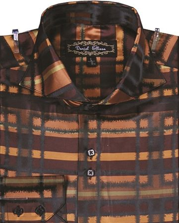 Mens High Collar Shirt DE Brown Fancy Plaid FSS1305