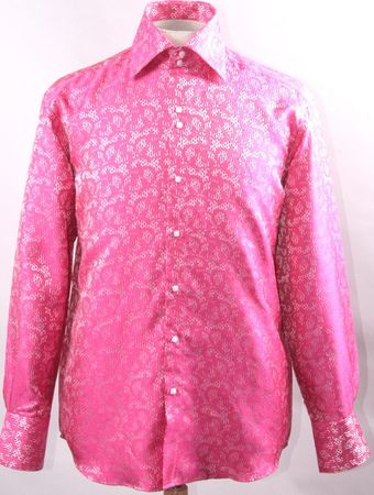 Mens High Collar Shirt DE Fuschia Fancy Pattern FSS1429
