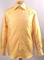 Mens High Collar Shirt DE Gold Fancy Pattern Design FSS1429