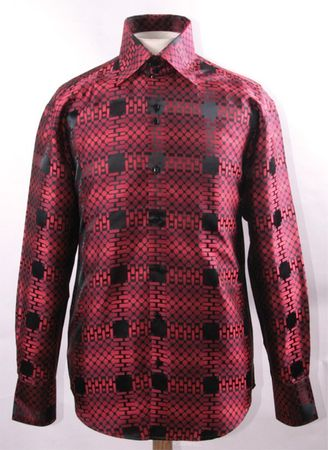 Mens High Collar Shirt Shiny Red Fancy Cube Pattern FSS1421