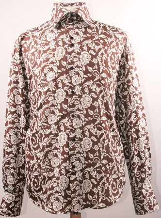 Mens High Collar Shirts Brown Fancy Shiny Floral Pattern FSS1418