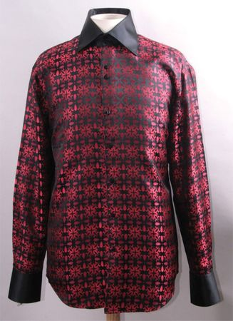 Mens High Collar Shirts Clubwear Exotic Pattern Black Red FSS1419