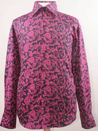 Mens High Collar Shirts DE Black and Fuchsia Fancy Shiny Floral FSS1418 - click to enlarge