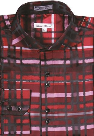 Mens High Collar Shirts DE Red Designer Plaid Pattern FSS1305 - click to enlarge