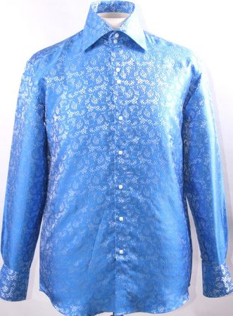 Mens High Collar Shirts Shiny Blue DE Fancy Pattern FSS1429