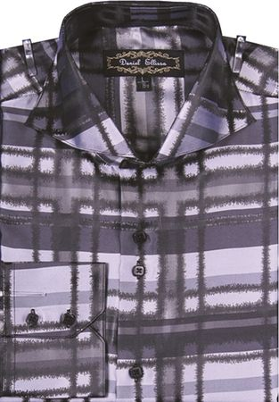 Mens High Collar Shirts White Fancy Pattern Plaid FSS1305 - click to enlarge