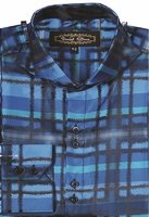 Mens High Collar Turquoise Designer Plaid Shirt DE FSS1305