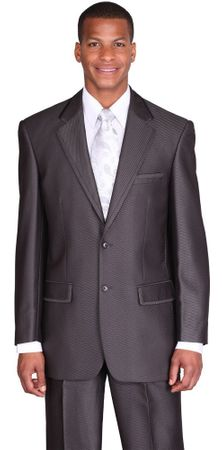 Mens High Fashion Church Suit Black Sharkskin 2 Piece Milano 57021