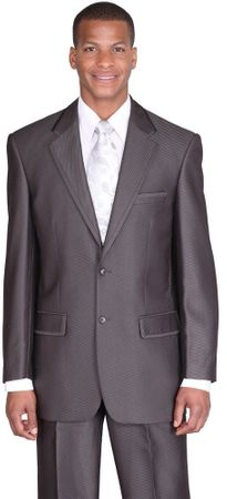 Mens High Fashion Church Suit Dark Gray Sharkskin 2 Piece Milano 57021