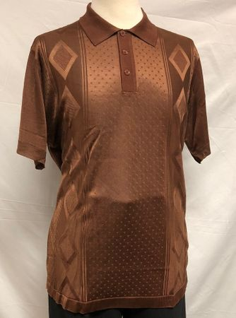 Mens Italian Knit Polo Shirt Brown 1960s Style Pronti 6332