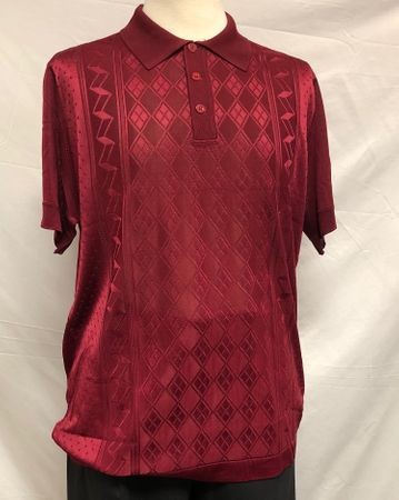 Mens Italian Knit Polo Shirt Burgundy 1960s Style Pronti 6332
