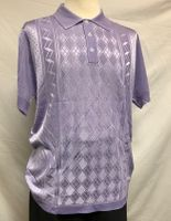 Mens Italian Knit Polo Shirt Lilac 1960s Design Pronti 6332
