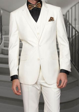 Men's Ivory Modern Fit Wool Suit 3 Pc. Flat Front Style Statement STZV-100 - click to enlarge