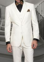 Men's Ivory Modern Fit Wool Suit 3 Pc. Flat Front Style Statement STZV-100