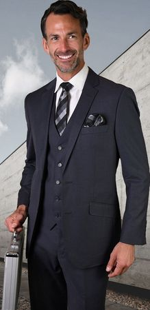 Men's Denim Blue Modern Fit Wool Suit 3 Pc. Flat Front Style Statement STZV-100