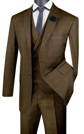 Mens Taupe Brown Plaid 3 Piece Suit Double Breasted Vest V2RW-13