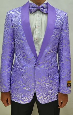 Mens Lavender Paisley Prom Tuxed Modern Fit Jacket Alberto Paisley-300
