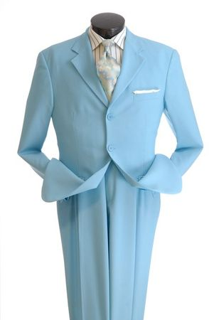 Mens Light Blue Suit 3 Button Jacket Pleated Pants Milano 802P - click to enlarge