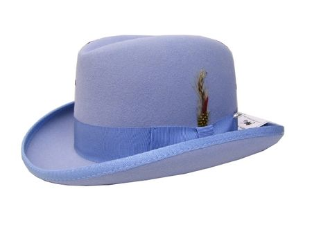 Mens Light Blue Godfather Hat 100% Wool Homburg Dress Hat 4201
