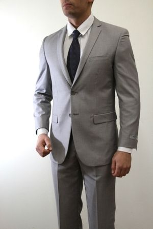 Young Men Light Gray Tight 2 Button Ultra Slim Fitting Suit 2 Piece M085S-05