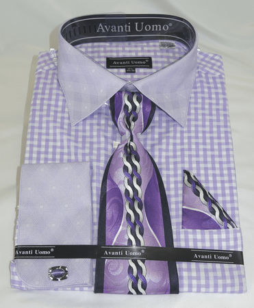 Mens Lilac Pattern Dress Shirt with Matching Tie and Hanky DN76M - click to enlarge