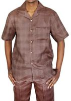 Mens Linen Walking Suit Brown Plaid Set LNSW-1