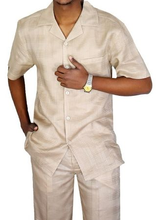 e527afa2d7 Mens Linen Walking Suit Natural Beige Plaid Set LNSW-1