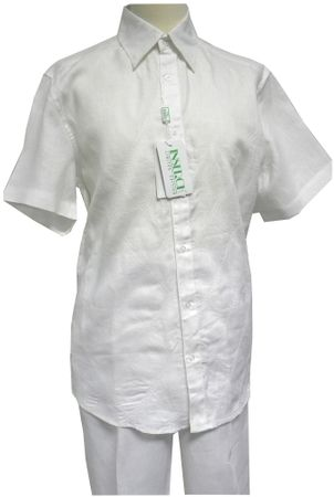 Inserch Mens White Diamond Embroider Linen Walking Suit 804 - click to enlarge
