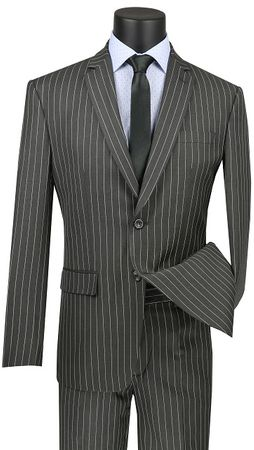 Men's Medium Grey Gangster Stripe 2 Piece Slim Fit Vinci S2RS-10
