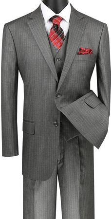 Mens Medium Grey Pinstripe 3 Piece Suit Regular Fit Vinci V2RS-7