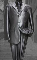 Mens Metallic Silver Sharkskin Suit 3 Button Fortini 58025