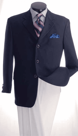 Mens Navy Blazer Classic 3 Button Sport Jacket Lucci Z-3PP