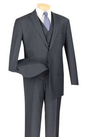 3 Piece Suit Mens Navy Blue 2 Button Vinci V2TR