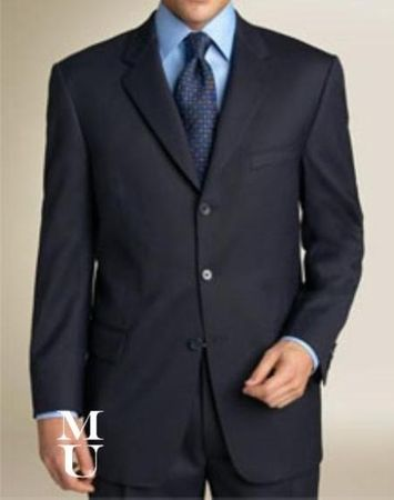 Mens Rich Navy Blue 3 Button Suit Wool Feel Fortini 5802