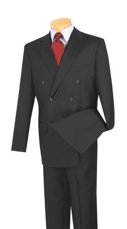 Men's Navy Blue Double Breasted Suit Pleated Pants Super 150s Vinci DC900-1 - click to enlarge