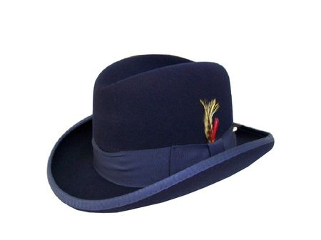Mens Navy Blue Godfather Hat 100% Wool Homburg 4201