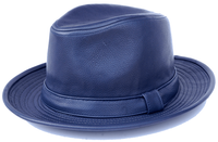 Mens Navy Blue PU Leather Fedora Hat Bruno FD-302