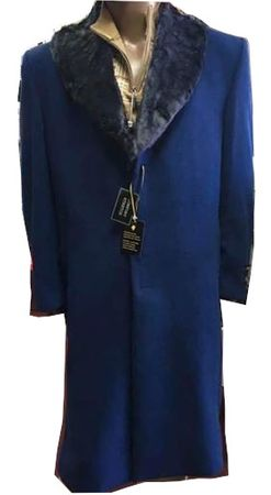 Mens Sapphire Blue Wool Overcoat Removeable Fur Collar Full Length Alberto - click to enlarge