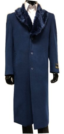 Mens Blue Fur Collar Coat Full Length Belted Falcone Vance 4150-032 IS - click to enlarge