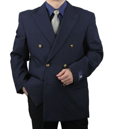 Mens Navy Double Breasted Blazer Vittorio Z76B Size 48R Final Sale