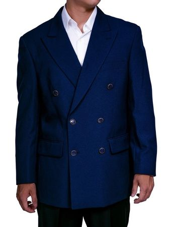 Mens Navy Double Breasted Suit Jacket Classic Fit Blazer Lucci Z-DPP