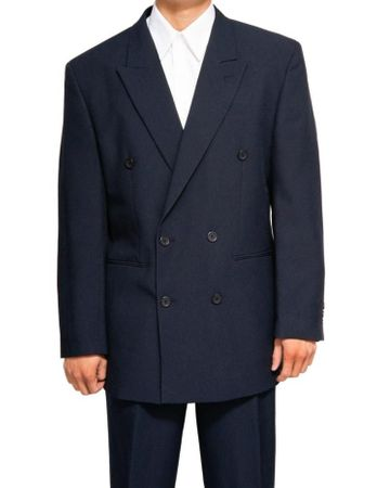 Mens Navy Double Breasted Suit Vittorio C762TA Size 40R Final Sale